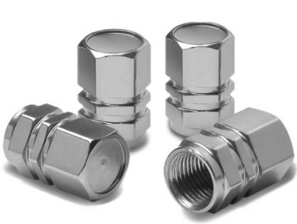 Hexagon Style Polished Aluminum Silver Chrome Tire Valve Stem Caps Pack of 4