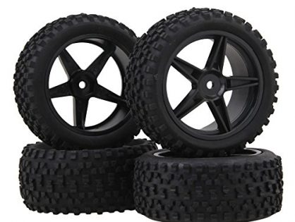 BQLZR Black Front Rear Pentagram Plastic Wheel Rims + High Grip Rubber Tires Tyres for RC 1:10 Off-Road Car Buggy Pack of 4