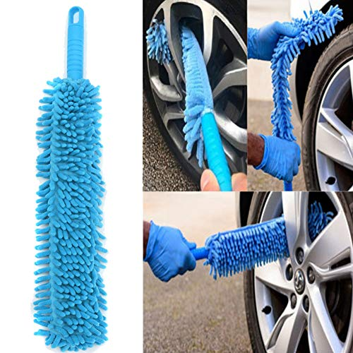 eroute66 Wheel Brush Long Flexible Soft Microfiber Chenille Car Vehicle Wheel Washing Cleaning Brush One Color