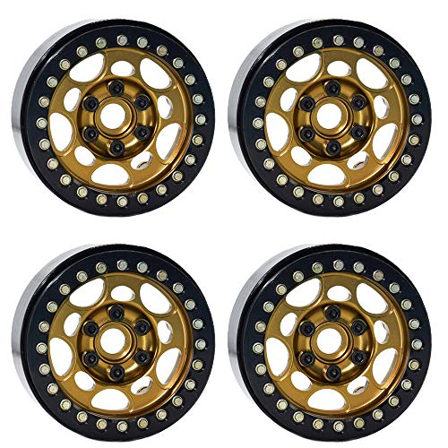 "4PCS 1.9"" Beadlock Wheel Rims for 1/10 RC Crawler Traxxas TRX-4 Axial SCX10 CC01 RC4WD Wheel HubBronze+Black"
