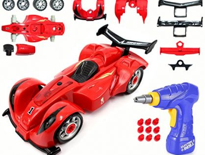 Race Car with Electric Play Drill and Car Modification Pieces - CoolToys Custom Take-A-Part Car Playset