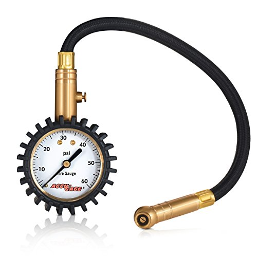 Accu-Gage RH60XA Professional Tire Pressure Gauge with Protective Rubber Guard, Angled Swivel Chuck, 60 PSI