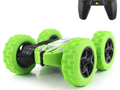 2.4GHz High Speed Rock Crawler Vehicle with Headlights for Boys Age 4, 5, 6, 7, 8, 9-12 Year Old - Fisca RC Car Remote Control Stunt Car, 4WD Monster Truck Double Sided Rotating Tumbling