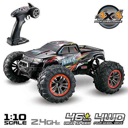 Hosim Large Size 1:10 Scale High Speed 46km/h 4WD 2.4Ghz Remote Control Truck 9125,Radio Controlled Off-road RC Car Electronic Monster Truck R/C RTR Hobby Grade Cross-country Car Black
