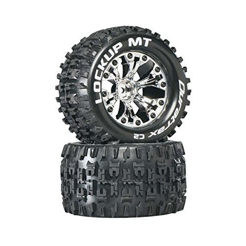 Lockup MT 2.8 1/10 RC Monster Truck Tires with Foam Inserts: C2 Soft, Mounted, 6-Spoke Front/Rear Wheels, Chrome, 1/2 Inch Offset, Set of 2