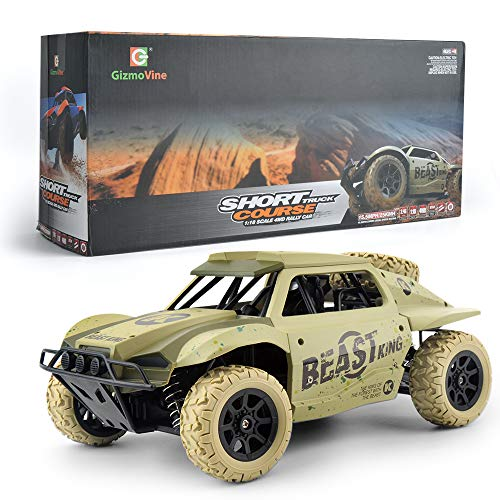 Gizmovine Remote Control Cars 4WD Large Size High Speed 15.5 MPH+ Racing Rc Cars Off Road for Kids, 2019 Version Khaki