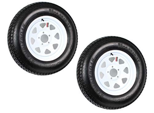 "2pcs Trailer Tires & Rims ST205/75D15 F78-15 205/75-15 15"" 5 Lug 4.5"" Wheel White Spoke"