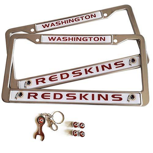 MT-Sports Football Team 2 Pcs Car Licenses Plate Stainless Steel Frames & 4 Pcs Tire Valve Stem Caps Washington Redskins