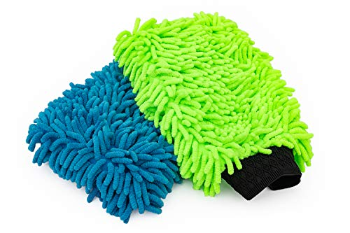 The Rag Company 2-Pack Premium Soft Microfiber Chenille Knobby Scratch-Free, LINT-Free Wash Mitts, One Royal Blue and One Lime Green