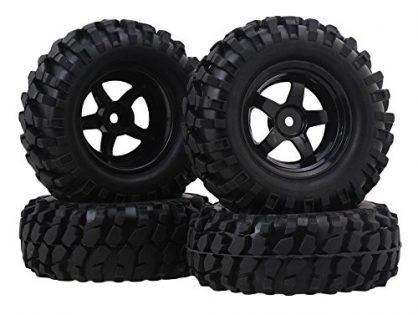 BQLZR RC1:10 Black Gravel Shape Pattern Rubber Tires + Black Plastic 5-Spoke Wheel Rim for Climbing Rock Crawler Pack of 4
