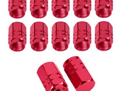 BEADNOVA Valve Stem Caps Aluminum Chrome Caps for Tires Valve Caps 12pcs Pack,Red