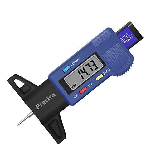 Preciva Tire Tread Depth Gauge, LCD Digital Tire Tread Depth Gauge Tool 0-25 mm