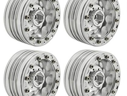 MOHERO 1/10 1.9'' Alloy Beadlock Wheel Rims for RC Cralwer Axial SCX10 CC01 D90 Pack of 4 Silver