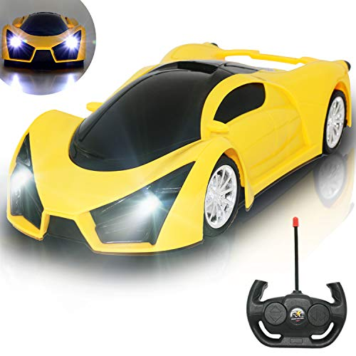 Kulariworld Remote Control Car 1/16 RC Super Cars Toys for Kids High Speed Vehicel Racing Hobby with Led Lights Best Gifts for Boys Girls Yellow