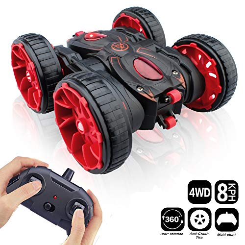 Red Color - RC Cars, Remote Control Car Toy Vehicle 4WD 2.4Ghz 8 Mph Racing Stunt Car Double Sided 360°Rotation & Flips, Kids Toy Car for Boys & Girls Birthday Christmas