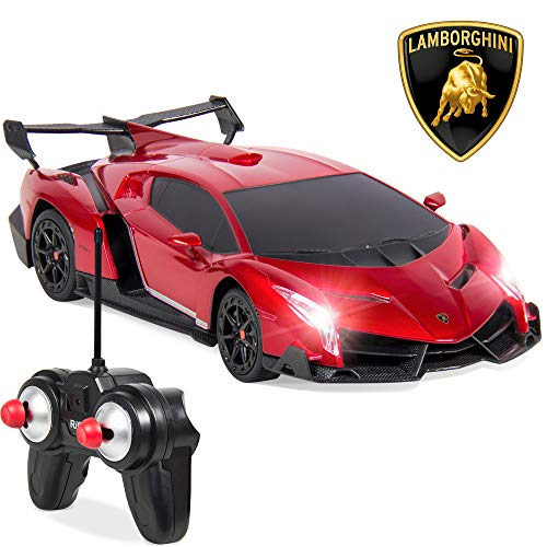 Red - Best Choice Products 1/24 Officially Licensed RC Lamborghini Veneno Sport Racing Car w/ 27MHz Remote Control, Head and Taillights, Shock Suspension, Fine Tune Adjustment