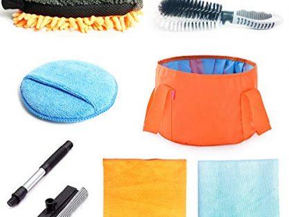 OKAYC 7 pcs Car Cleaning Mitt Tools Kit with Folding Bucket Car Tire Brush Wash Sponge Wax Applicator Microfiber Cloths Window Water Blade Brush