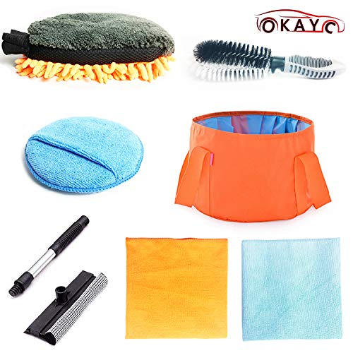 OKAYC 7 pcs Car Cleaning Mitt Tools Kit with Folding Bucket Car Tire Brush Wash Sponge Wax Applicator Microfiber Cloths Window Water Blade Brush