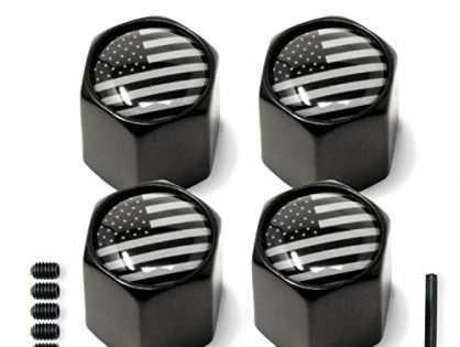 Tire Valve Stem Caps American USA Flag Anti-Theft Hexagon Design | Car, Truck, SUV, Bike, Motorcycle, Bicycle | Leakproof, Airtight, Dustproof Seal | All-Weather, Lock Tight Fit