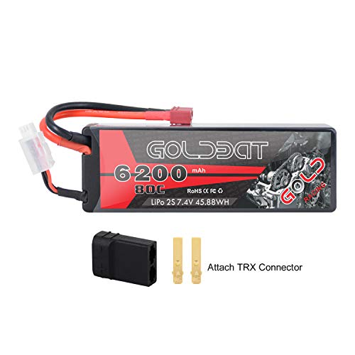 GOLDBAT 2S 6200mAh 7.4V 80C LiPo RC Battery Hard Case with Deans Plug and TRX Connector for RC Evader BX Car RC Truck RC Truggy RC Heli Airplane Drone FPV Racing ... 6200-2S-80C