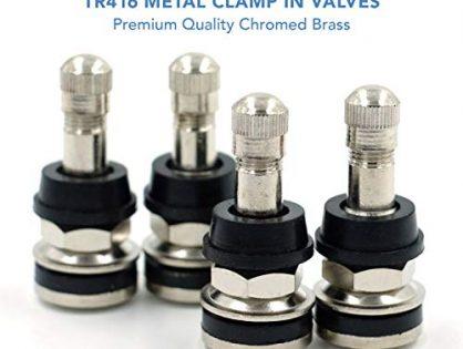 """CK Auto 4 Pieces TR416 Metal Valve Stems Outer Mount Fits .453"""" & .625"""" Rim Holes Long 1 1/2"""", Silver"""