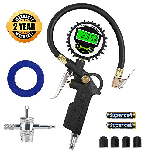 Black - Digital Tire Inflator with Pressure Gauge, innislink 255 PSI Air Chuck and Compressor Accessories with Rubber Hose and Quick Connect Coupler for Auto, Truck, Bike, Moto, 0.1 Display Resolution