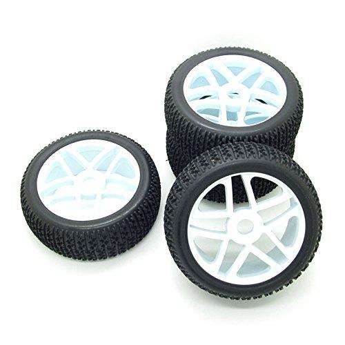 4X Blue 17mm 5 Spokes Plastic Hub Wheel Rim Rubber Tires for RC 1:8 Off-Road Car