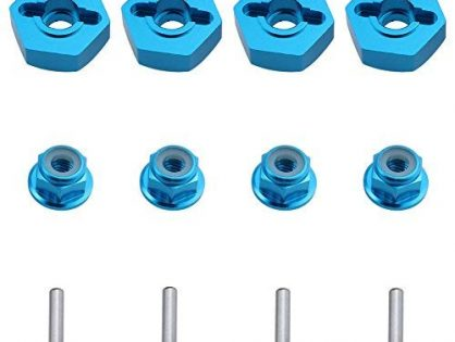 Hobbypark 12mm Aluminum Wheel Hex Drive Hub Adaptor 4P & M4 Locknut 4P RC Model Car Parts Blue