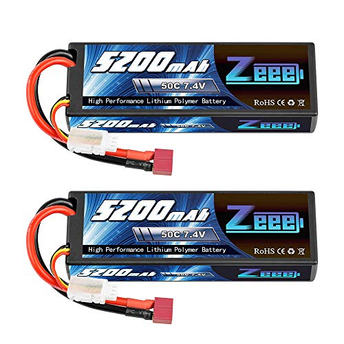 Zeee 2s Lipo Battery 7.4V 50C 5200mAh RC Lipo Batteries Hard Case with Deans Plug for 1/8 1/10 RC Vehicles Car,Trucks,Airplane,Boats2Pack
