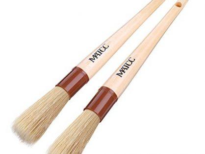 MATCC Detailing Brush Car Detail Brush Car Cleaning Brush Auto Detailing Tools Premium Boar's Hair Bristle with Wooden Handle