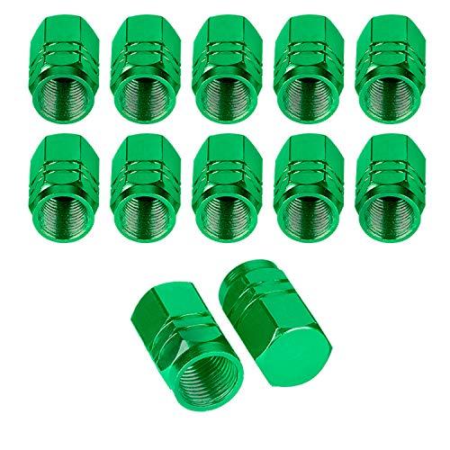 BEADNOVA Valve Stem Caps Aluminum Chrome Caps for Tires Valve Caps 12pcs Pack, Green