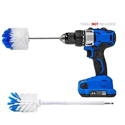 Extended Reach Wheel Brush with Heavy Duty Bristles + Super Extended Long Wheel Brush with Soft Bristles - RotoScrub 2 Drill Brush Kit