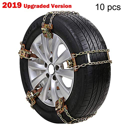 """10.8"""" - XuSha 10 PCS Tire Chains Snow Chains for suvs/Cars/Sedan/Family Automobiles Steel Car Snow Chains for Ice/Snow/Mud/Sand Applicable Tire Width 205-275 mm / 8.07"""""""