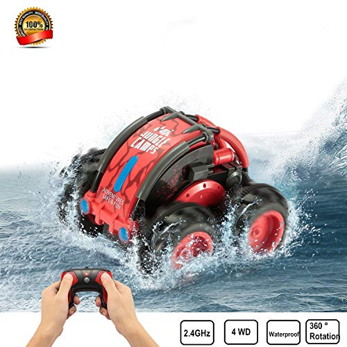Waterproof RC Remote Control Stunt Car, 2.4Ghz 4WD Water and Land RC Remote Control Truck 360 Degree Spinning and Flips Racing Car Toys for Kids Christmas Birthday Gift