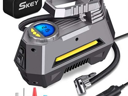 Skey Air Compressor Tire Inflator - Electric Auto Pump 12V DC Portable Air Compressor Pump Digital Tire Inflator Car Tire Pump