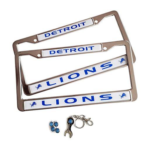 MT-Sports Football Team 2 Pcs Car Licenses Plate Stainless Steel Frames & 4 Pcs Tire Valve Stem Caps Detroit Lions