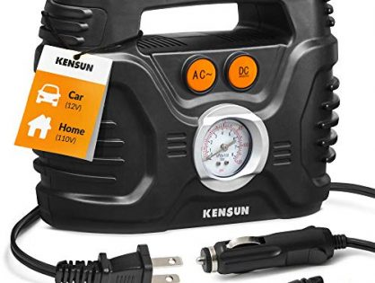 Kensun AC/DC Power Supply Portable Air Compressor Pump with Analog Display to 100 PSI for Home 110V and Car 12V, Tire Inflator with Adaptors for Cars, Trucks, Bicycles, Balls