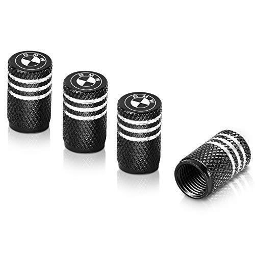 Qideloon Tire Valve Caps,Aluminum Valve Stem Caps Compatible with BMW Accessories Car,Trucks,Motorbike 4pcs Black