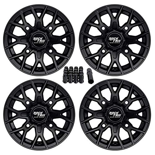 RockTrix RT104 4pc 12in ATV Wheels 4x110 Rims | 12x7 | 5+2 Offset | includes 10x1.25 Spline Lug Nuts | for IRS Honda Kawasaki Yamaha Foreman Rubicon Rincon Brute Force Kodiak Grizzly Rhino 4/110