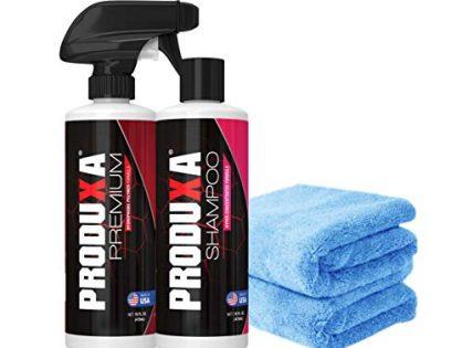 Bundle: 4 Items - PRODUXA Premium Super Gloss Shine Spray 1, Ph-Balanced Detox Car Wash Soap & Shampoo 1, Professional Grade Super Absorbent Premium Microfiber Towels 2