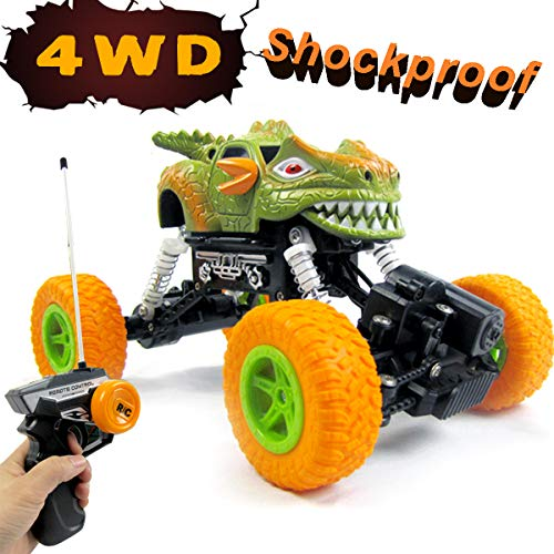4WD RC Rock Climbing Dinosaur Car, Radio Remote Control Off-Road Vehicle Toy Cars with LED Lights for Kids Thanksgiving Christmas Gift--Yellow