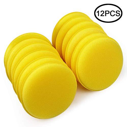 "TIHOOD 12PCS 4""Car Wax Applicator/Round Shaped Sponge/Cars Wax Applicator Foam Sponge Ultra-Soft Cleaning Tool"