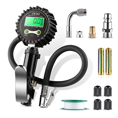 LOETAD Digital Tire Inflator with Pressure Gauge 200PSI Tire Pressure Gauge Inflator Deflator Compressor Accessories with 90° Valve Extender 360° Rubber Hose LCD