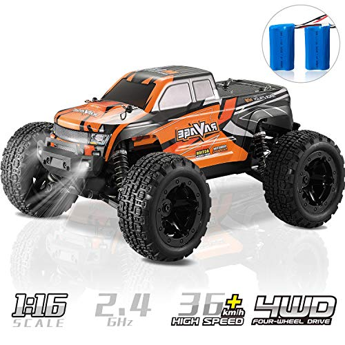RC Truck, KOOWHEEL 1:16 Scale RC Car 36km/h 4WD Off Road Remote Control Monster Truck All Terrain Trucks Toys for Kids and Adults Orange
