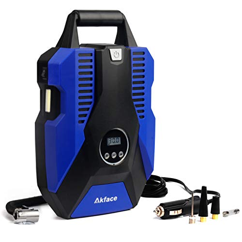 akface DC 12V Portable Tire Inflator for Car,Air Compress Pump for Bicycle, Motorcycle, Balls, and Other Inflatables, Digital Display Up to 150PSI, Auto Shut Off Accurate Pressure Control, Blue