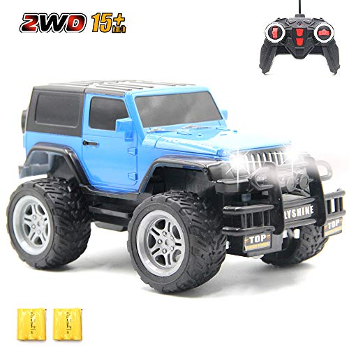 CISAY Rc Cars,6061 Remote Control Car,1/18 Scale 15km/h,2.4Ghz 2WD Land Off-Road,with Car Light and 2 Rechargeable Batteries,Give The Child Best The Gift Blue