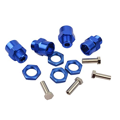 RC Aluminum Alloy 12mm To 17mm Wheel Hex Hub Conversion Adapter for 1/10 RC Car and Upgrade 1:8 tires 4pcs blue