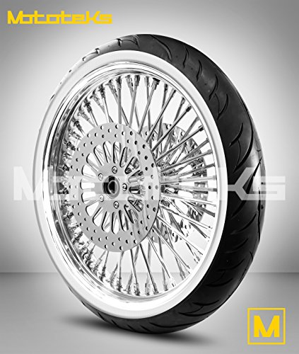21X3.5 52 Fat Spoke Tubeless Wheel for Harley Touring Bagger fits 2008-2017 W/ABS w/White Wall Tire & Rotors w/bolts