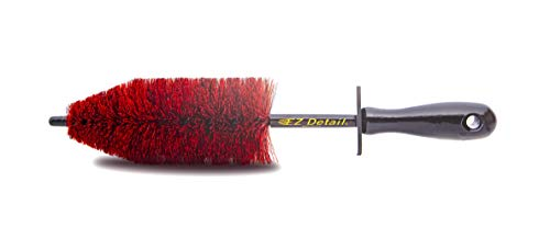 EZ Detail Brush Little - Red - Wheel Rim Cleaner for Cars, Bike, Trucks, Motorcycle, and Other Vehicles. Non-Scratch Auto Detailing Tool, Easily reaches Nook and Crannies