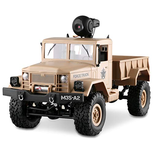 LBLA RC Military Truck with Wi-Fi HD Camera, 1:16 Scale Remote Control Off-Road Army Car 4WD 2.4Ghz Vehicle Crawler RTR for Adults and Kids (Included 2 Kinds of Wheels)